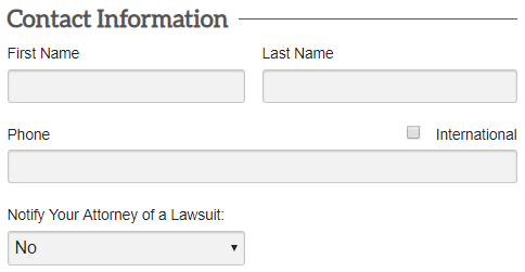 filling out contact information form