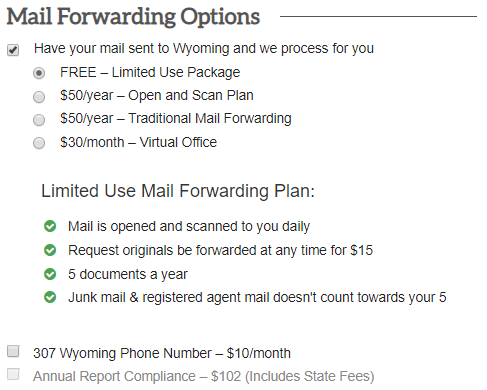 fill out Wyoming LLC mail forwarding options