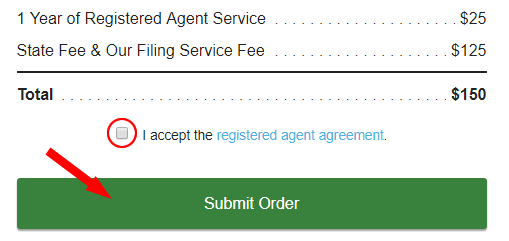 Accept agreement and submit order for your WY LLC