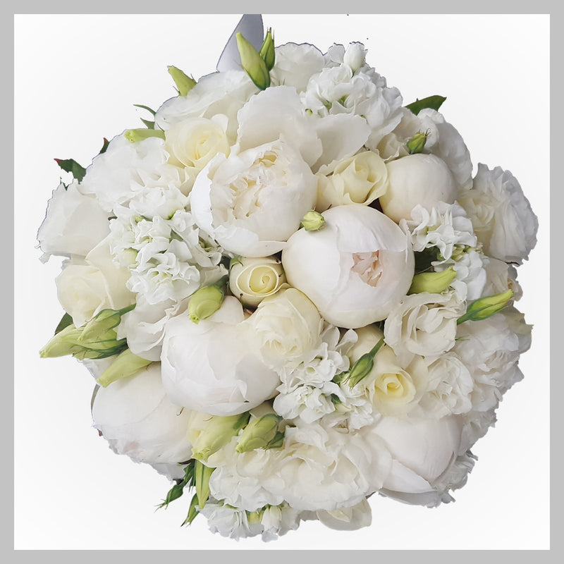WHITE  ROUND  BRIDAL  BOUQUET