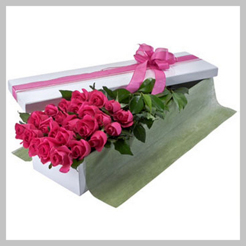 25 PINK ROSES IN LONG FLAT BOX