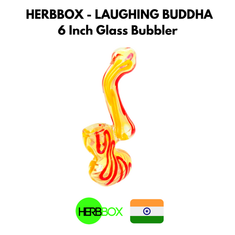 HERBBOX - Laughing Buddha 6 Inch Glass Bubbler