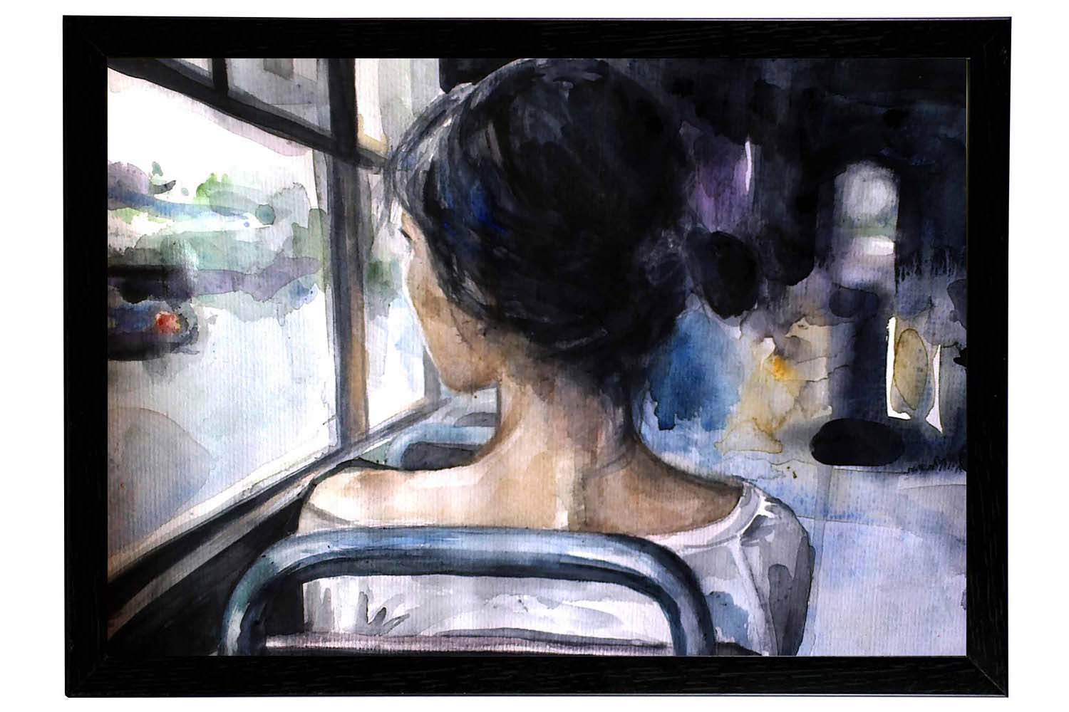 Alone girl painting