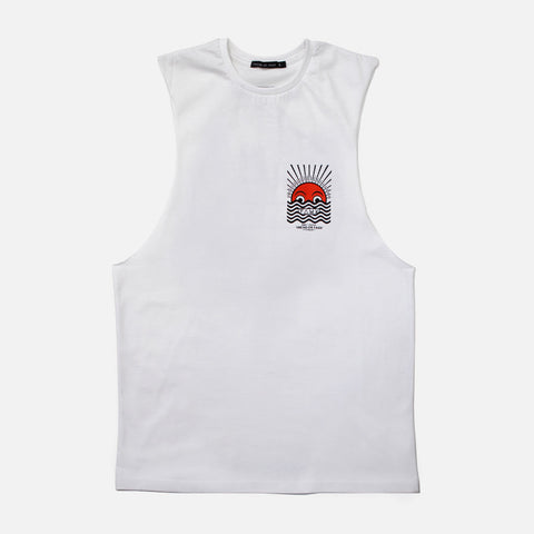 Horizon White Sleeveless T-shirt - Friend or Faux US