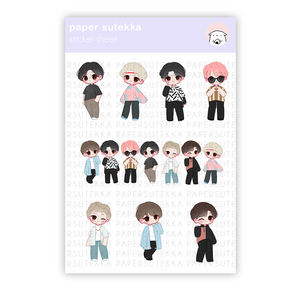 Load image into Gallery viewer, BTS Inspired Chibi Sticker Sheet