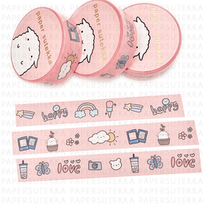 Load image into Gallery viewer, Doodles: Nature, Boba, Happy Washi Tape - paper sutekka