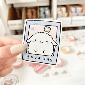 Mochi Good Day Polaroid Vinyl Sticker - paper sutekka