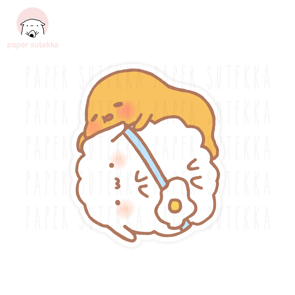Mika and Gudetama Vinyl Sticker