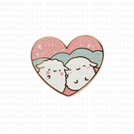 Mochi and Mika Heart Glitter Enamel Pin