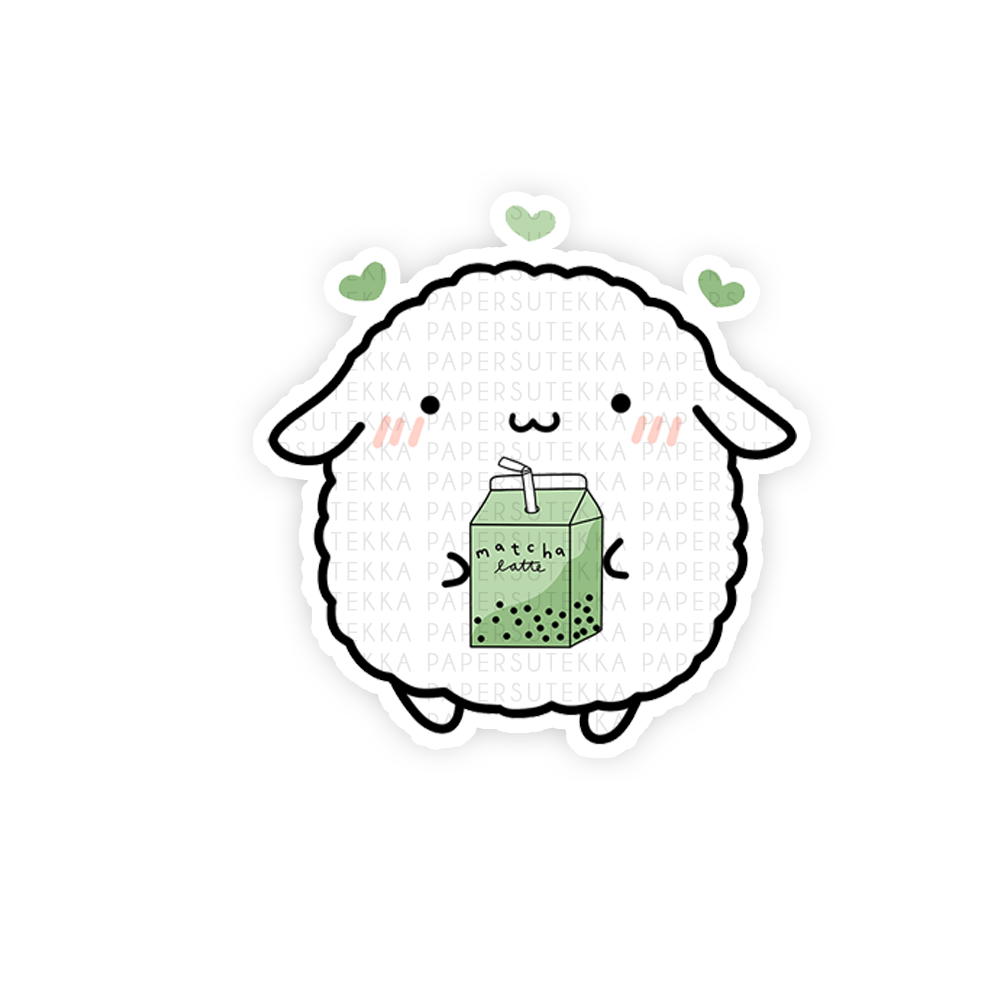 Load image into Gallery viewer, Mochi Matcha and Hearts Vinyl Sticker - Paper Sutekka