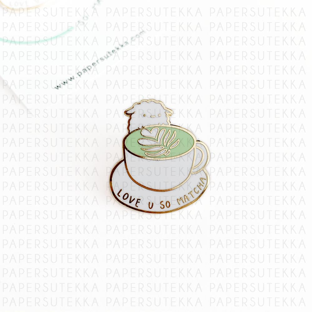 Load image into Gallery viewer, Mika Matcha Enamel Pin - Paper Sutekka