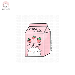 Mika Strawberry Milk Carton Vinyl Sticker - Paper Sutekka Kawaii Vinyl Sticker Shop