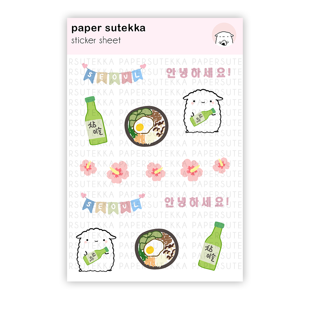 Load image into Gallery viewer, Mika Visits Seoul Sticker Sheet -  Paper Sutekka Stationery Store