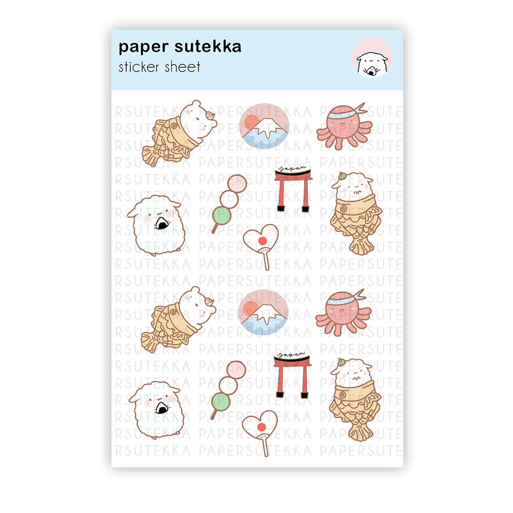 Mika Visits Japan Sticker Sheet - Paper Sutekka