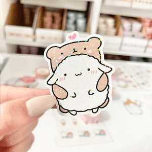 Load image into Gallery viewer, *Hologram* Mochi and Bear Friend Vinyl Sticker