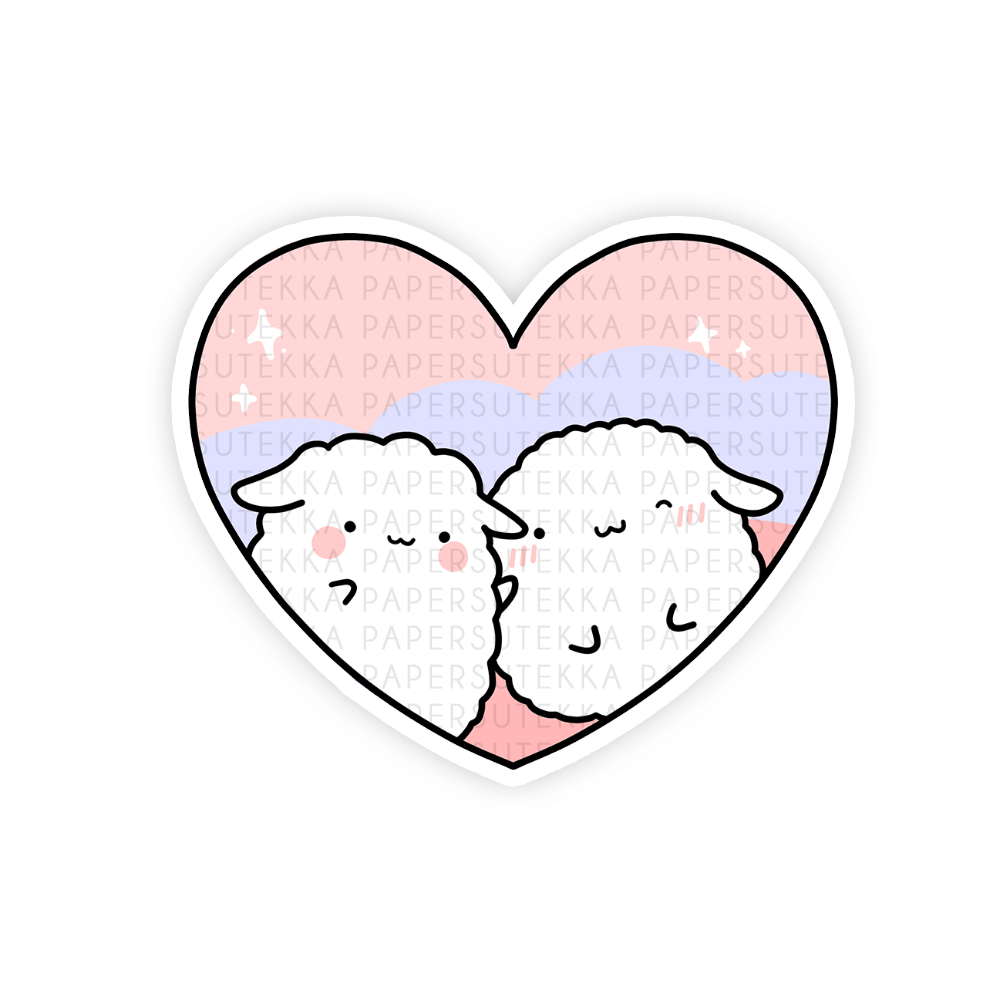 Mika and Mochi Heart Vinyl Sticker