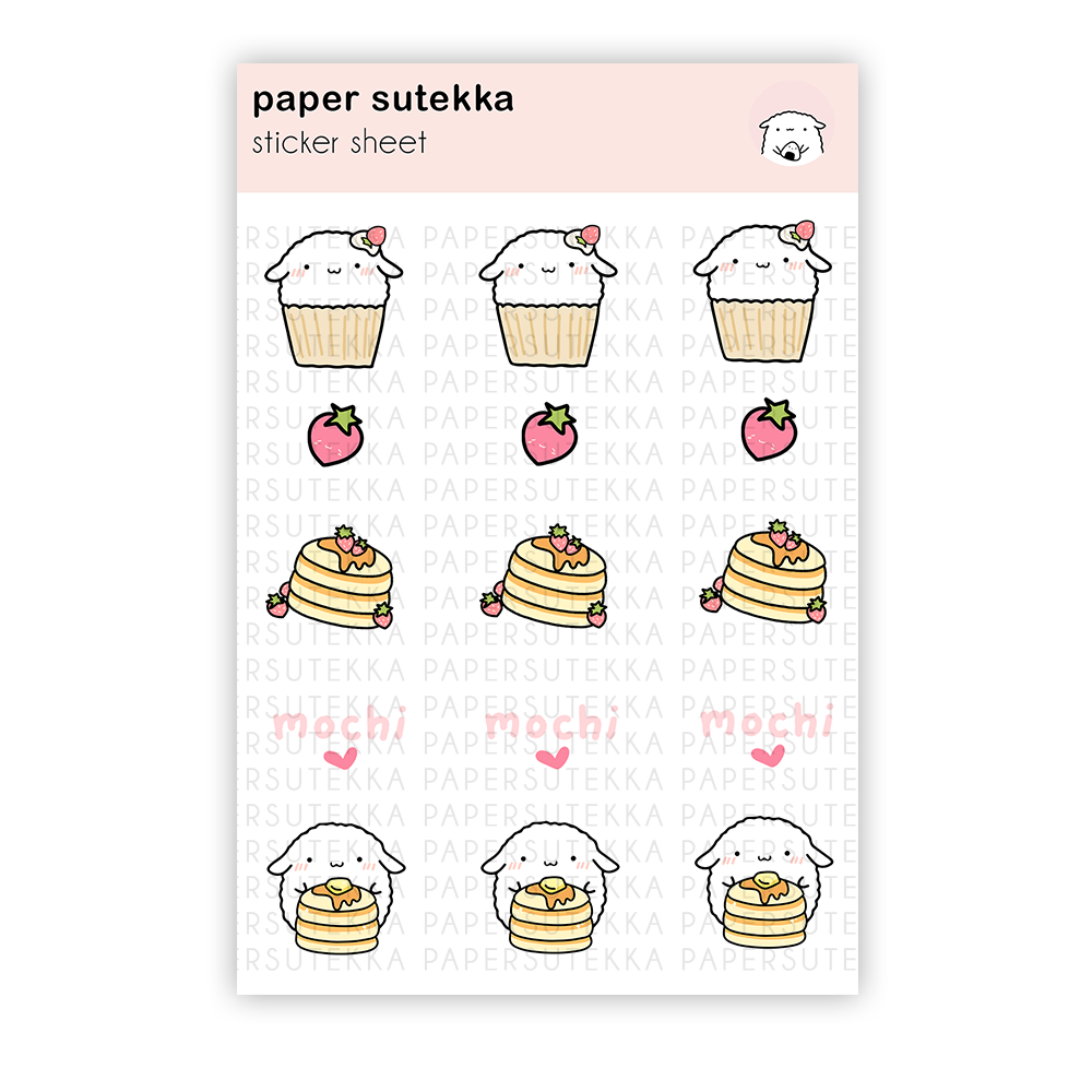Load image into Gallery viewer, Mochi Cupcake and Pancakes Sticker Sheet - Paper Sutekka Stationery Store\