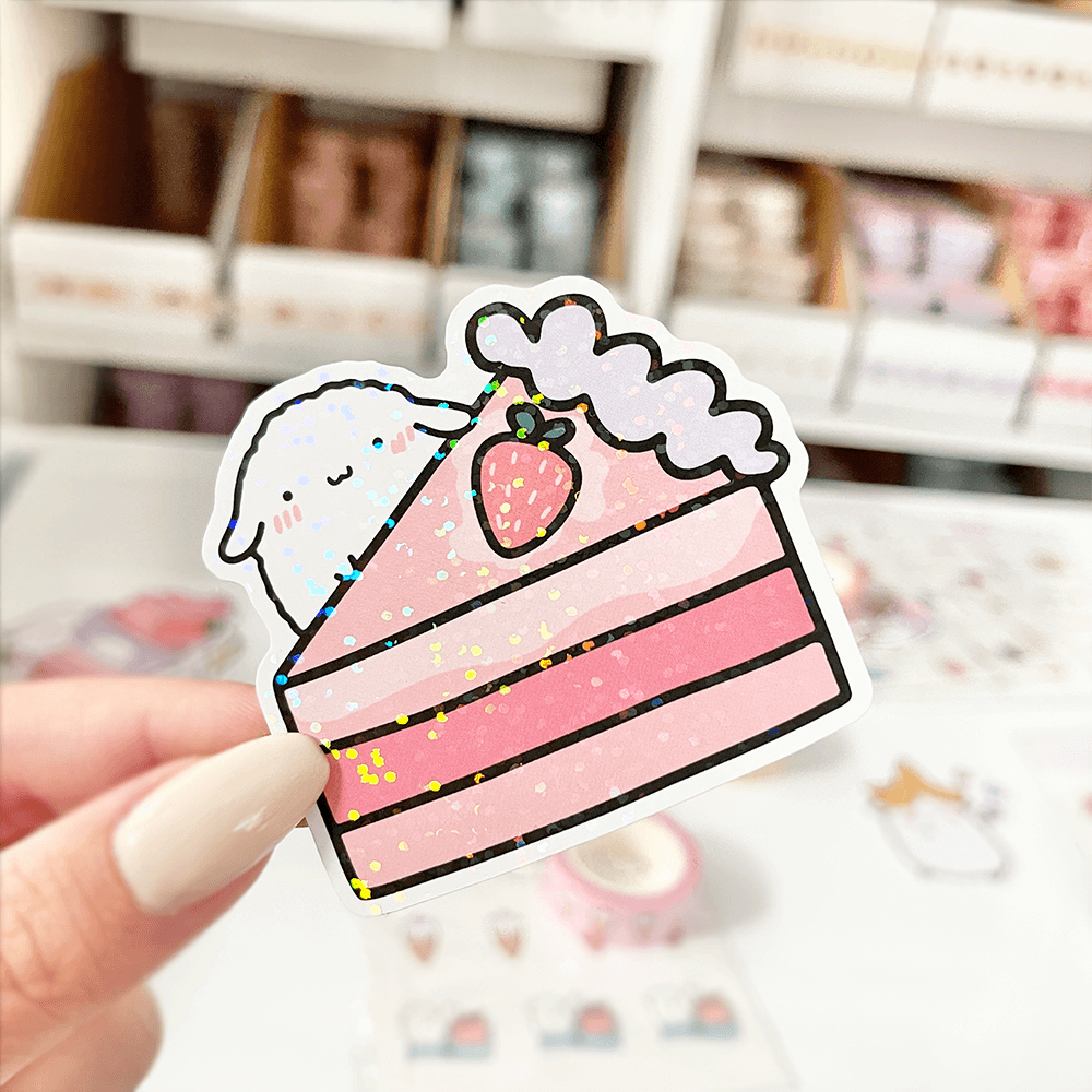 Mochi Strawberry Cake Vinyl Sticker - PaperSutekka
