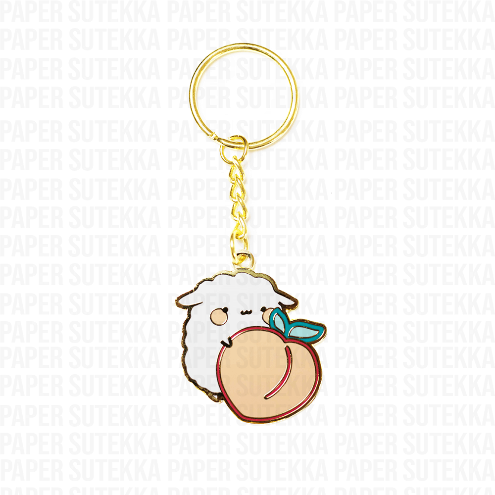 Load image into Gallery viewer, Mika Peach Enamel Keychain - Paper Sutekka