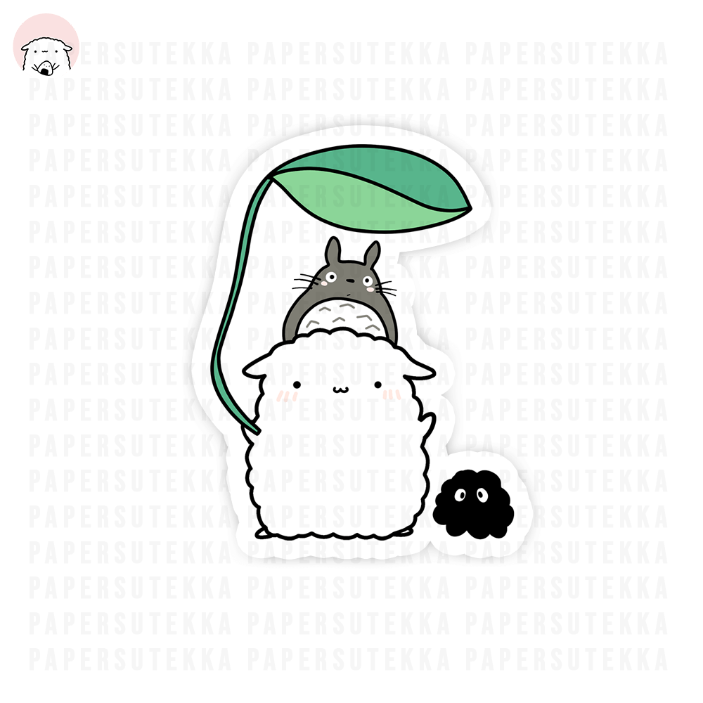 Mika and Totoro Inspired Leaf Vinyl Sticker