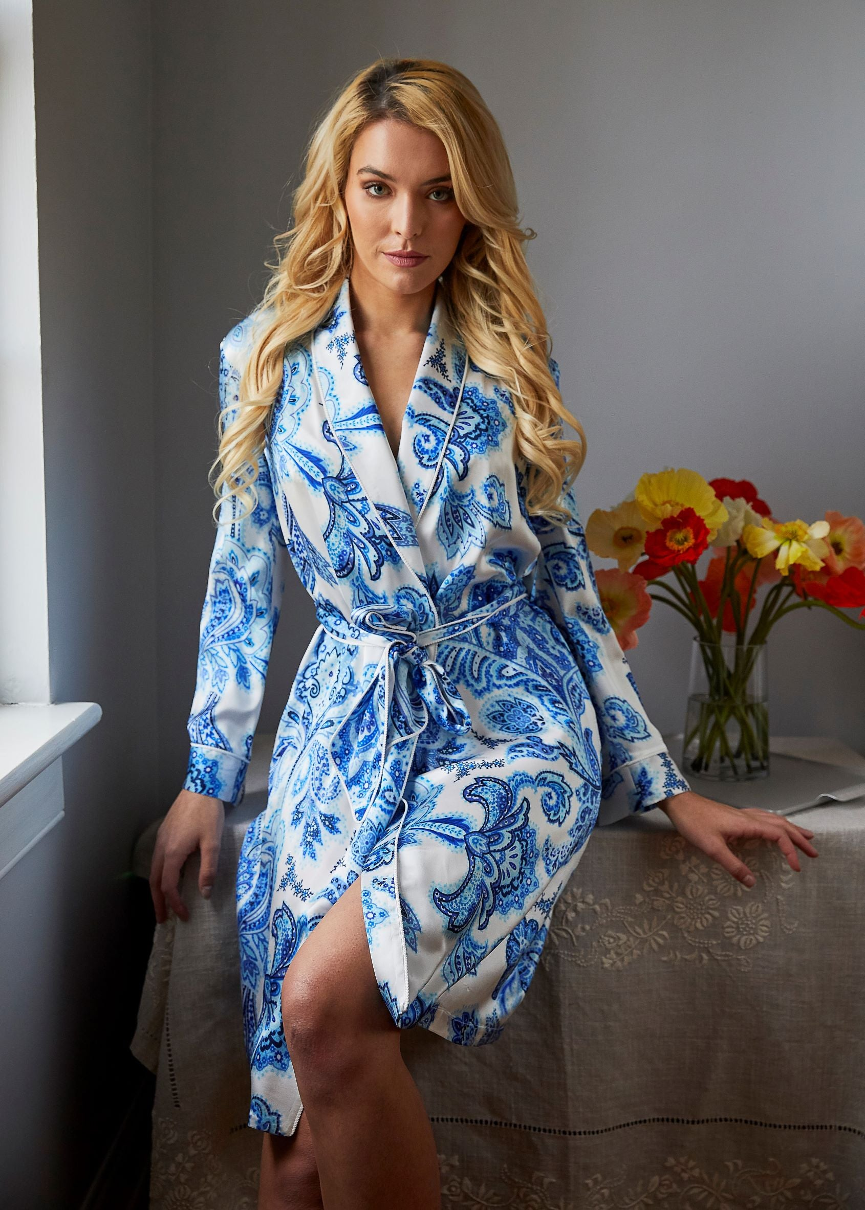 Blue and White Paisley Robe