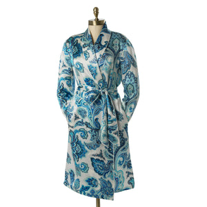 Paul Stuart blue and white paisley silk robe