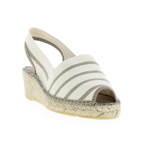 Classic Ecru Striped Wedge Espadrille