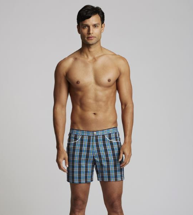 Hampton Plaid Swim Trunks