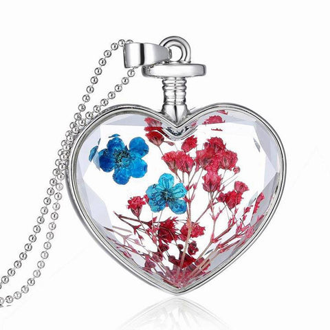 Women Dry Flower Heart Glass Wishing Bottle Pendant Necklace