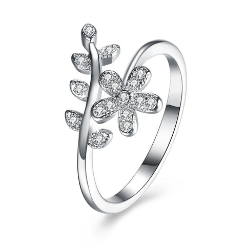 Floral Stone Sterling Silver Ring