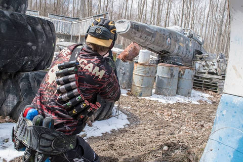 Gear and loadout on the Barrie Paintball field