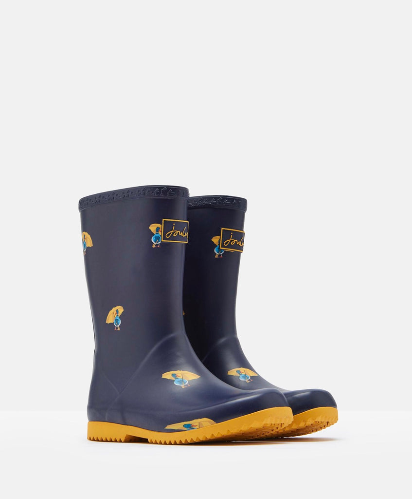 JNR Roll Up Wellies - Navy Ducks