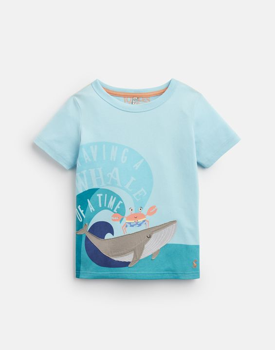 Archie Aqua Whale Applique T-Shirt