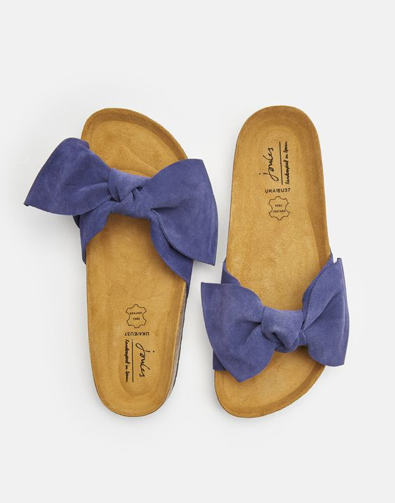 Bayside French Navy Suede Bow Sliders