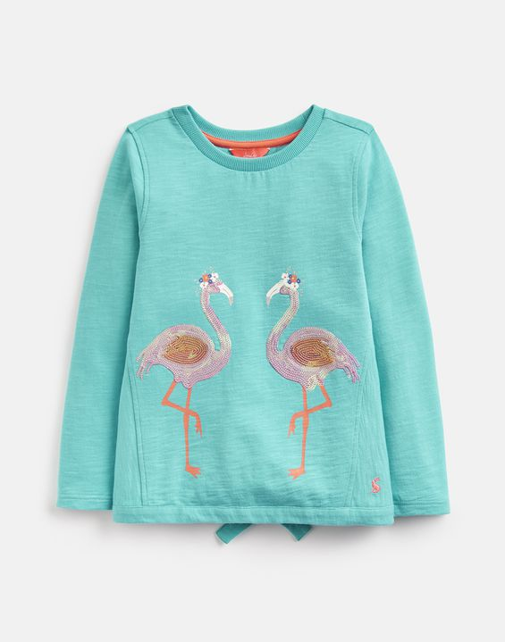 Chloe Turquoise Flamingo Sweater
