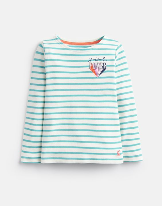 Girls Harbour Top - White Turquoise Stripe