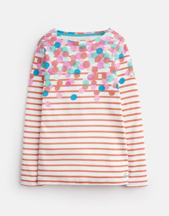 Joules Girls Fairdale Printed Sweatshirt in CREAM STRIPE GLITTER BUGS
