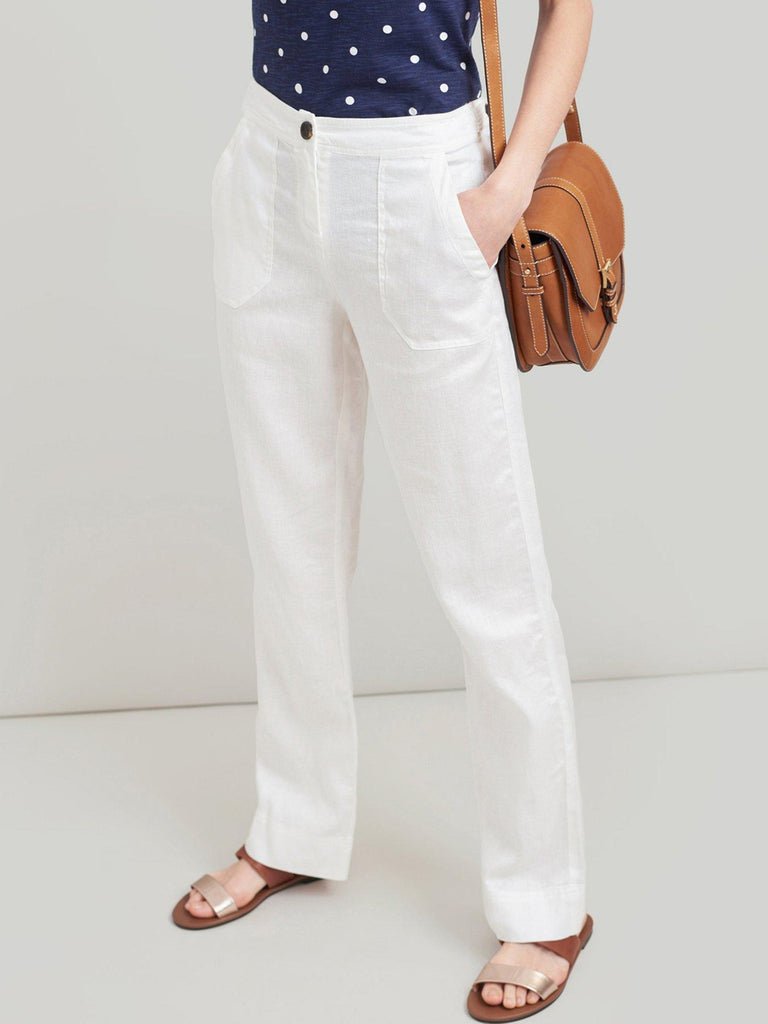 Lindy Linen Bright White Trousers