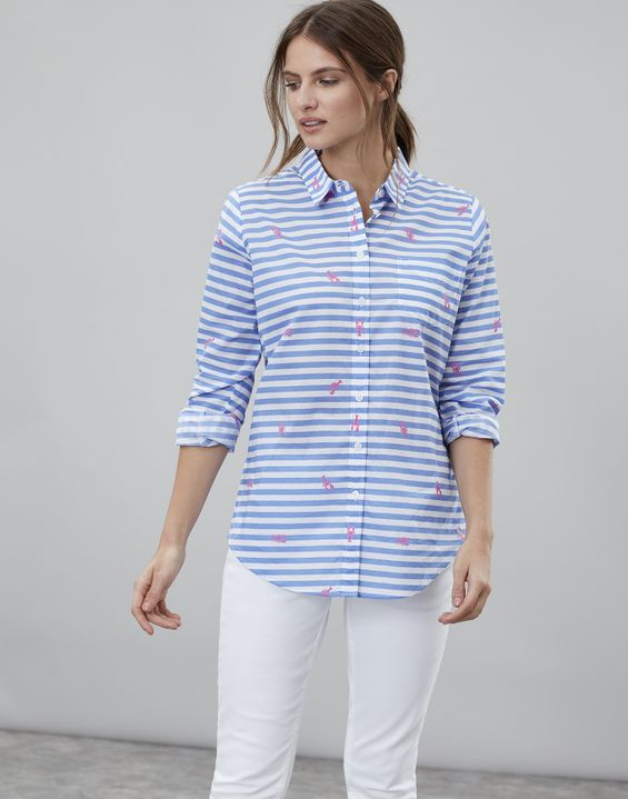 Lucie Printed Woven Shirt - White Lobster Stripe