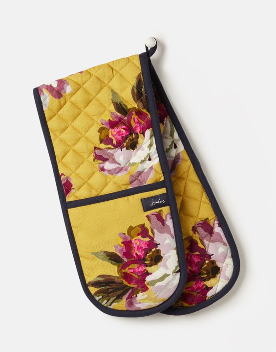 Double Oven Gloves Gold Floral
