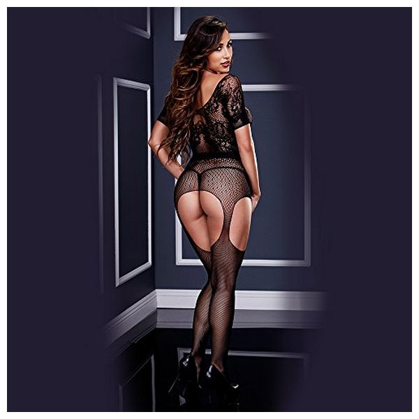 Crotchless Suspender Bodystocking One Size Baci Lingerie BW3133