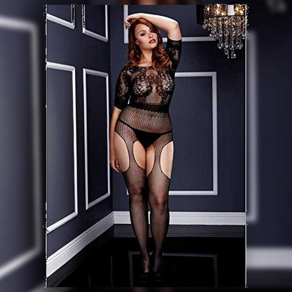 Crotchless Suspender Bodystocking Queen Size Baci Lingerie BW3133