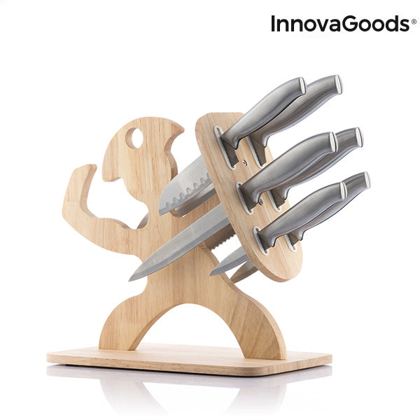 Set of Knives with Wooden Base Spartan InnovaGoods 7 Pieces