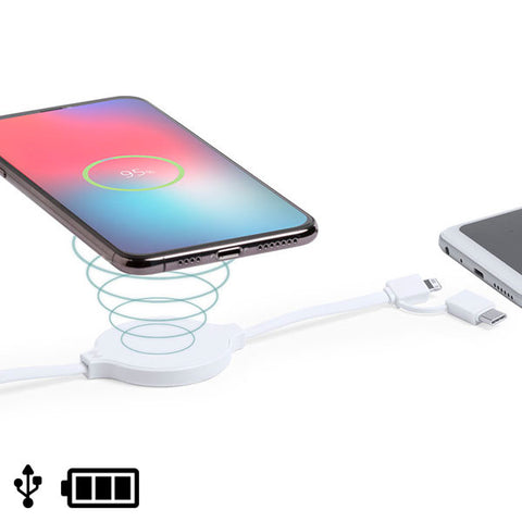 USB cable with Lightning, USB-C and Wireless Charger White 146259