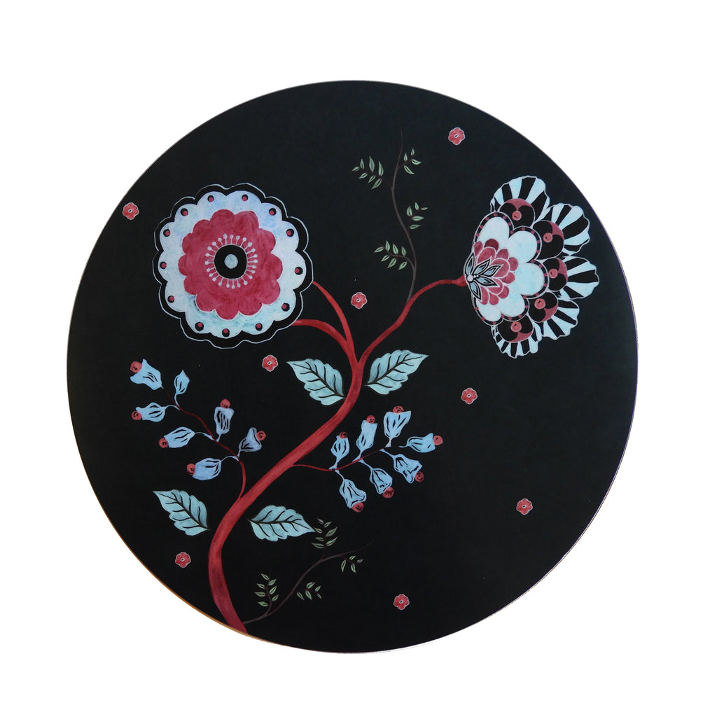 Midnight Blossom Round Placemat