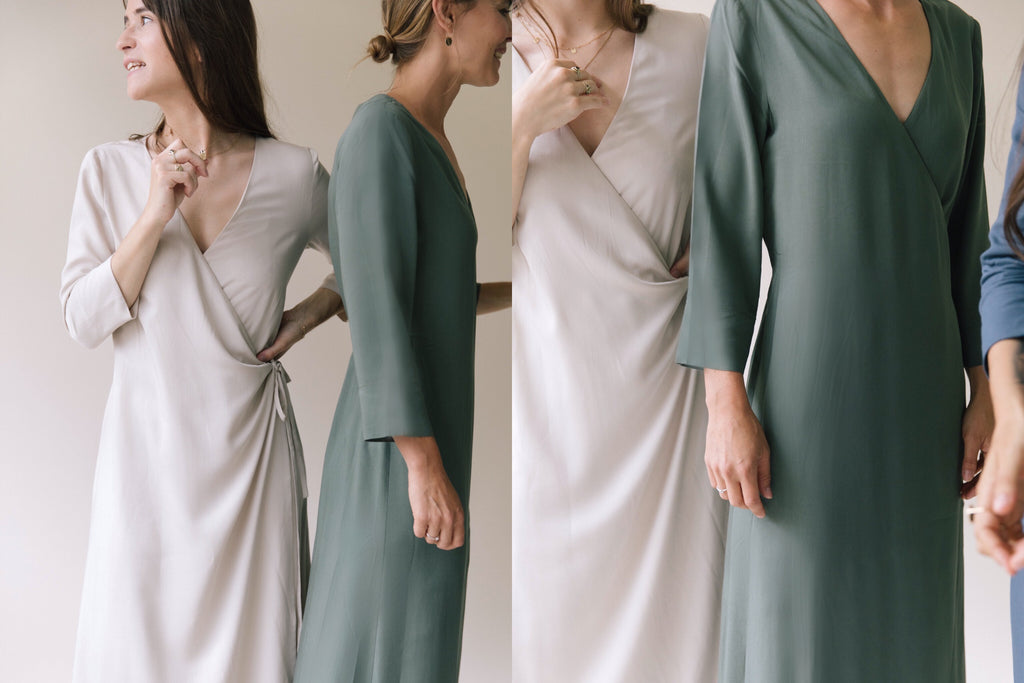 WRAP DRESSES SAND WEDDING NATURAL