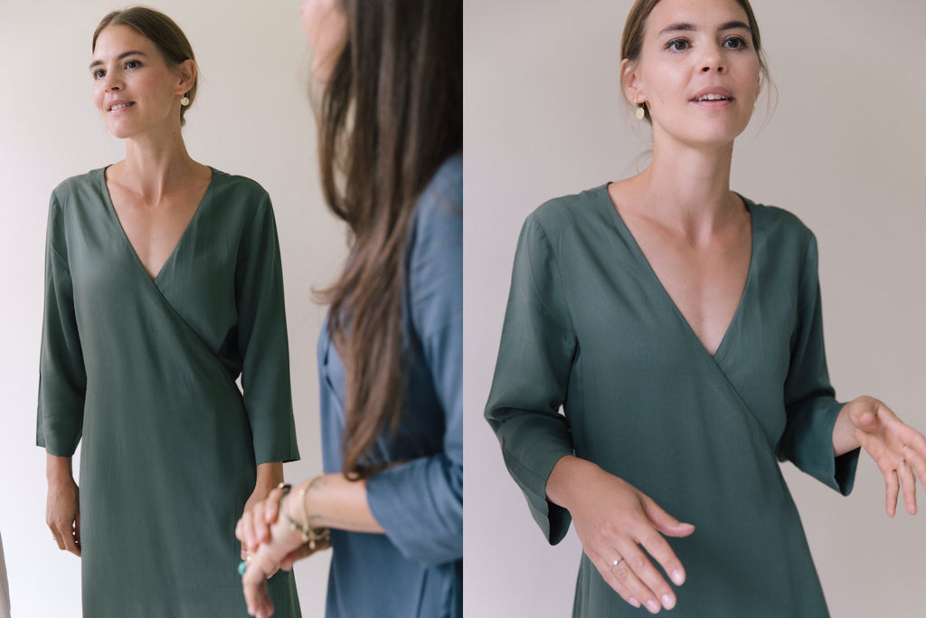 WRAP DRESSES WEDDING KHAKI GREEN
