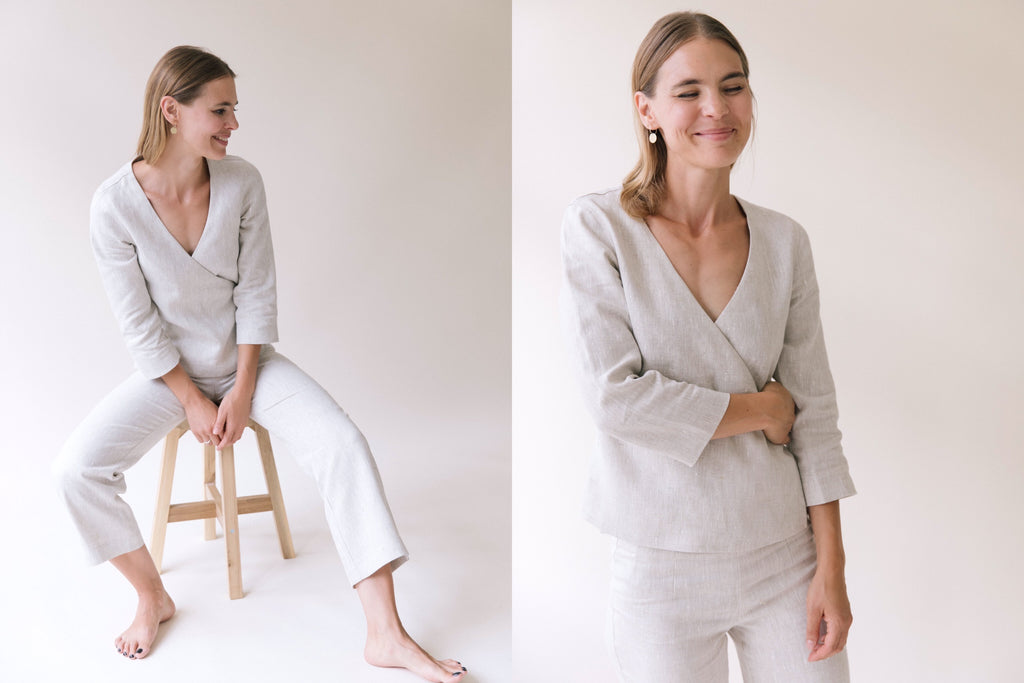 LINEN WRAP TOP LINEN PANTS WORKWEAR