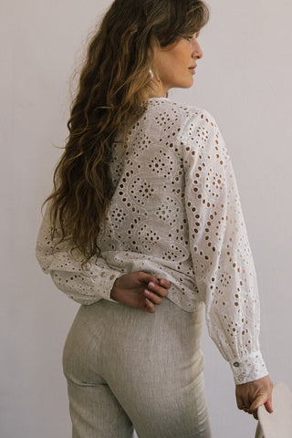 Cotton embroidery white cotton katoen blouse