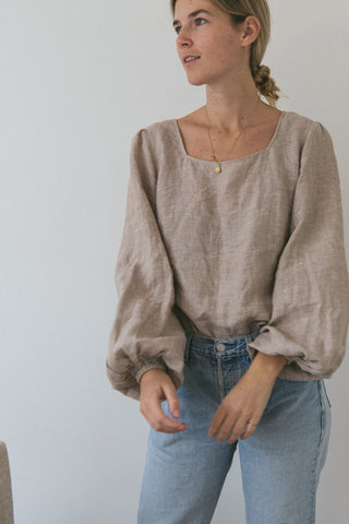 Linen Blouse Oatmeal Top Summer Spring